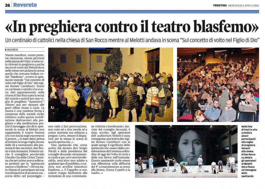 In preghiera contro il teatro blasfemo