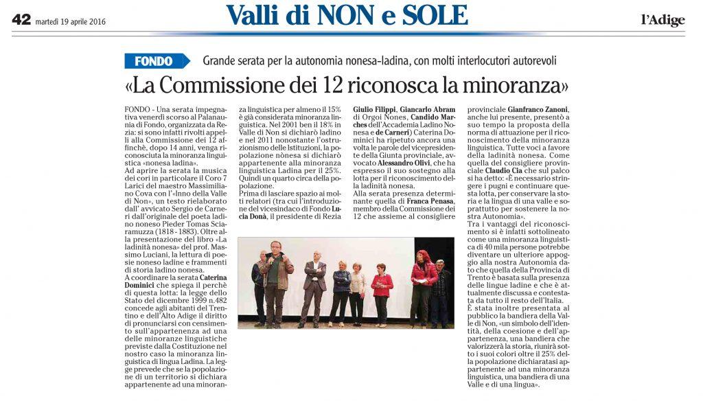 La Commissione dei 12 riconosca la minoranza