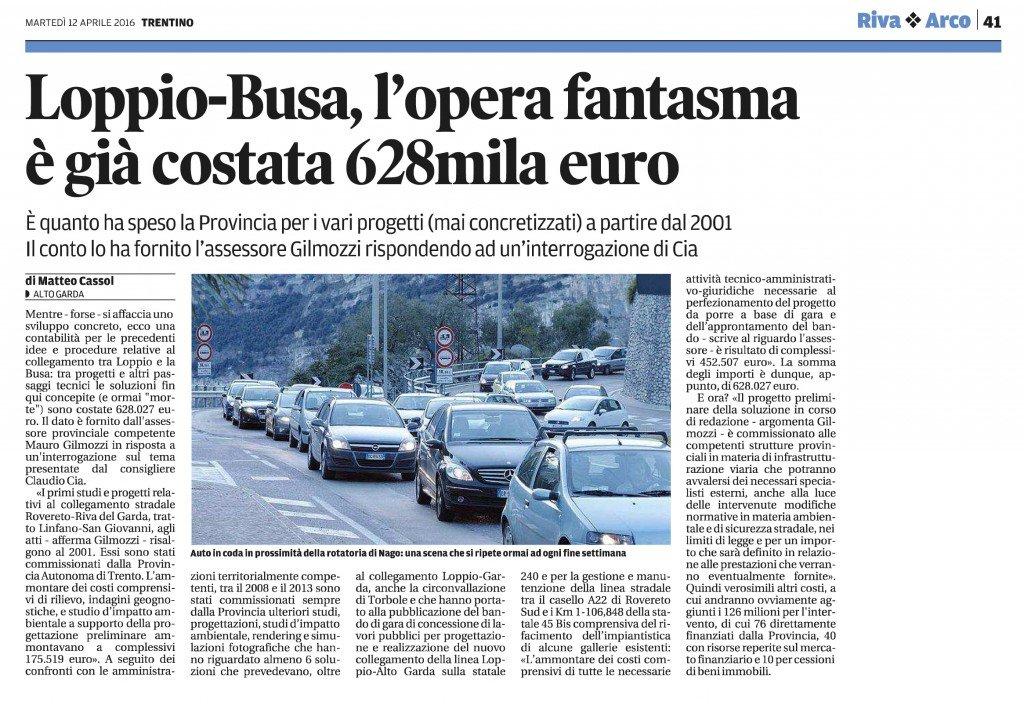 Loppio-Busa, già costata 628 mila euro