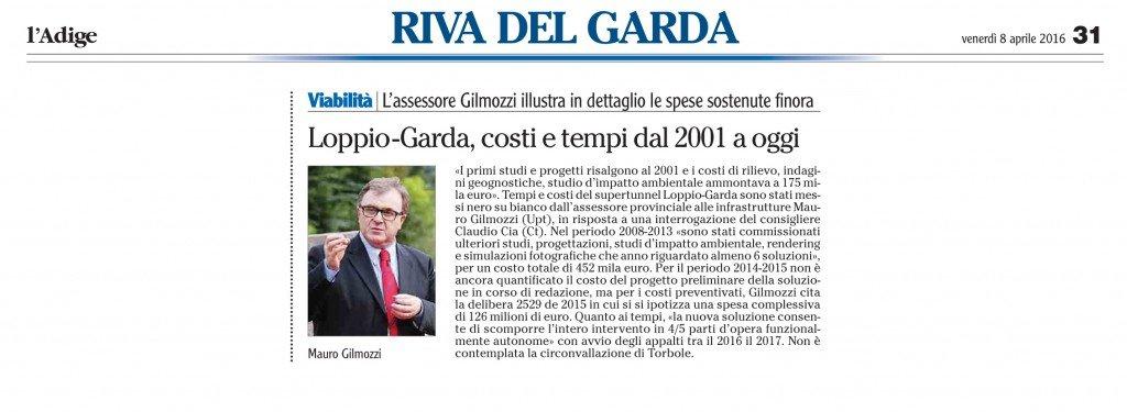 Loppio-Garda, costi e tempi dal 2001 a oggi