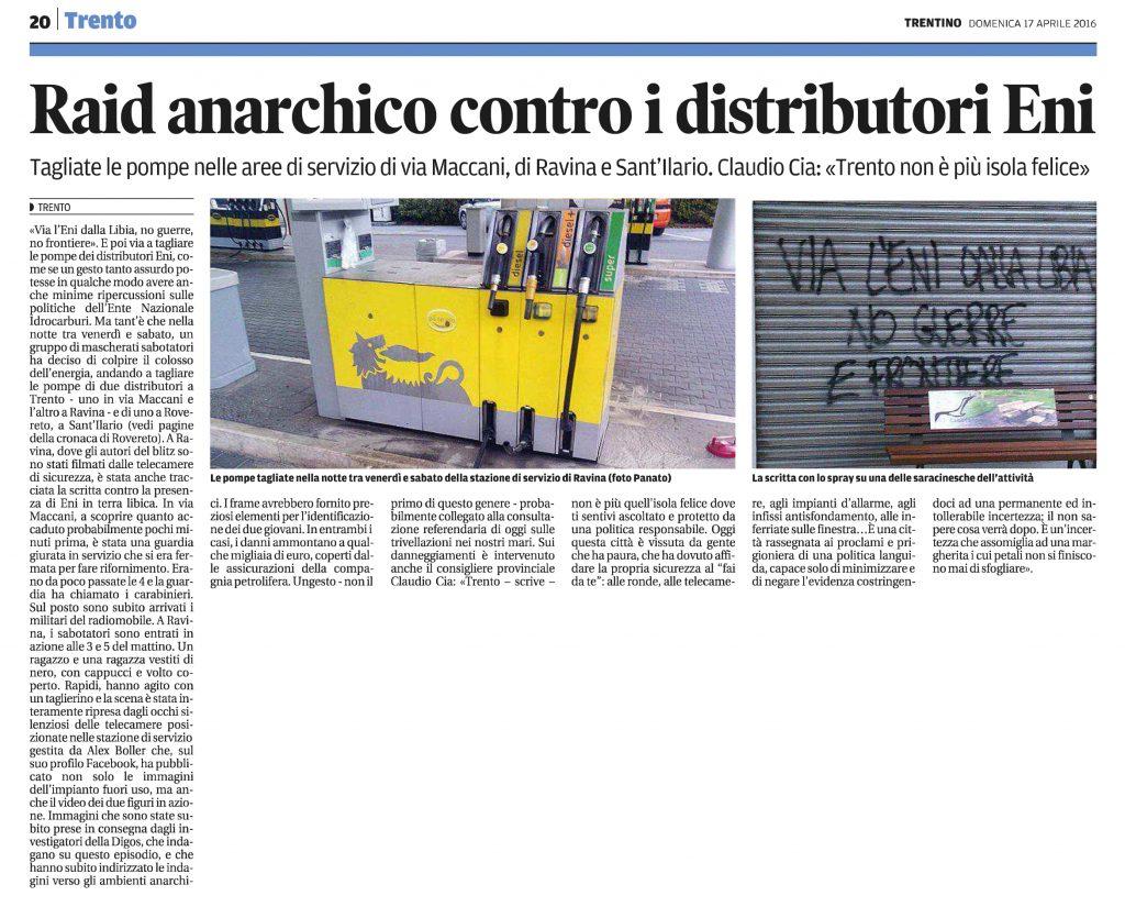 Raid anarchico contro i distributori Eni