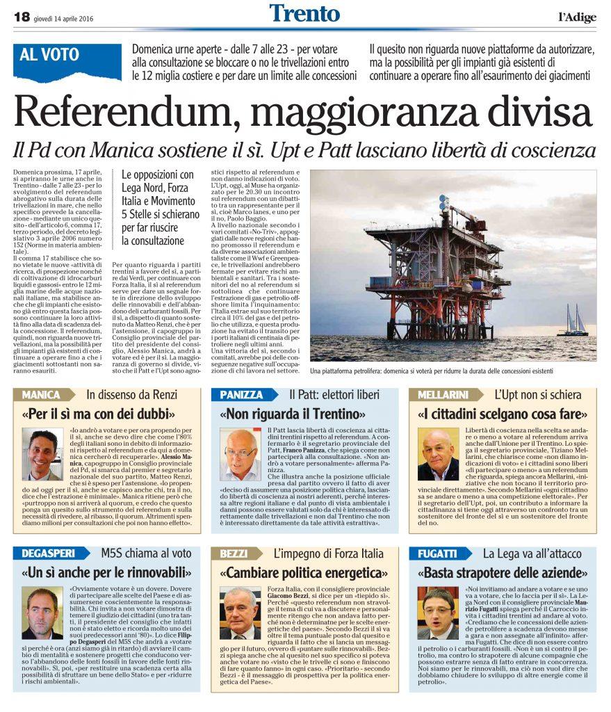 Referendum, maggioranza divisa