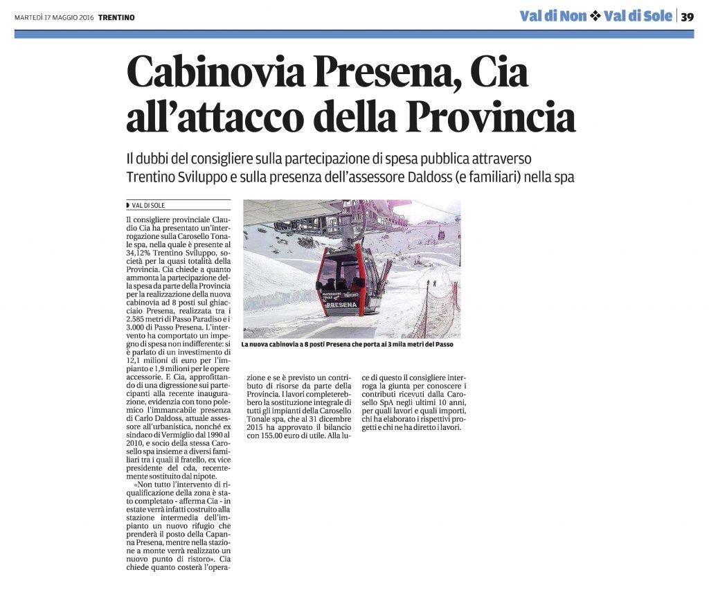 Cabinovia Presena, Cia all'attacco della Provincia