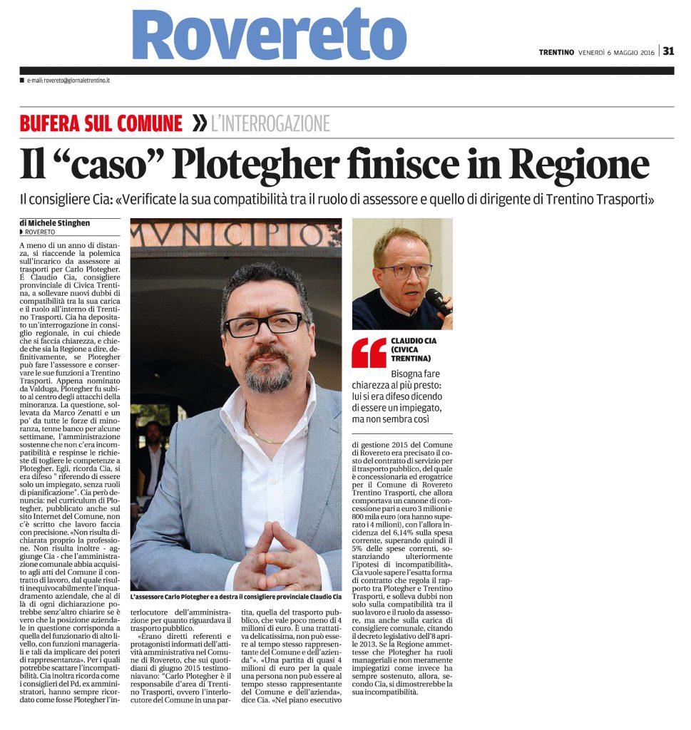 Il caso Plotegher finisce in Regione