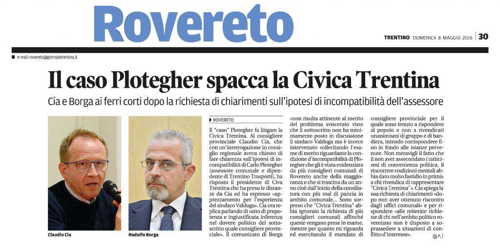 Il caso Plotegher spacca Civica Trentina