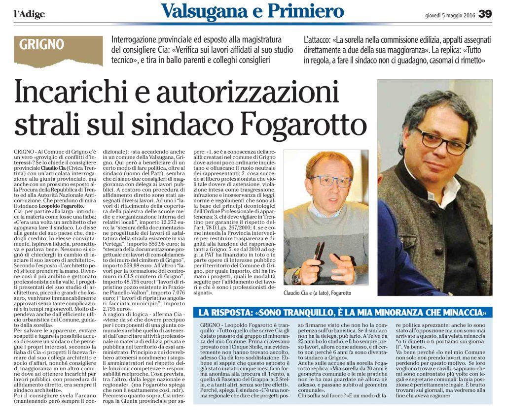 Incarichi e autorizzazioni, strali sul sindaco Fogarotto