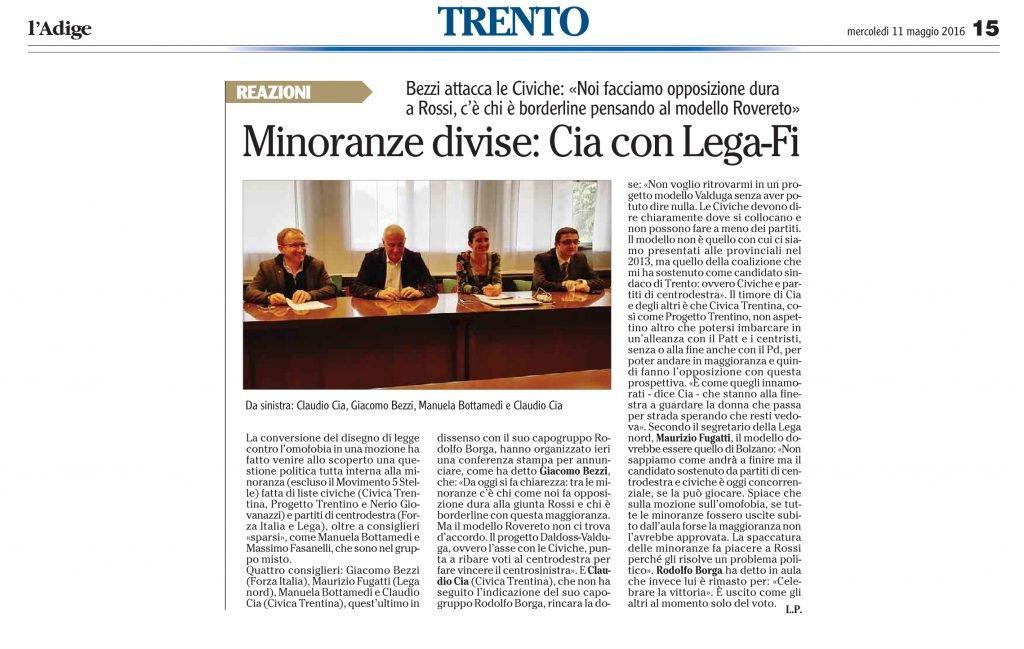 Minoranze divise Cia con Lega-Fi