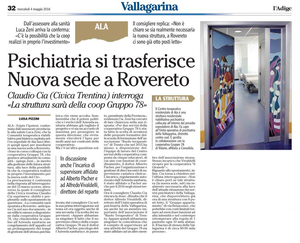 Psichiatria si trasferisce, nuova sede a Rovereto