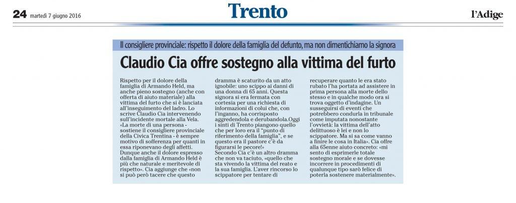 Claudio Cia offre sostegno alla vittima del furto