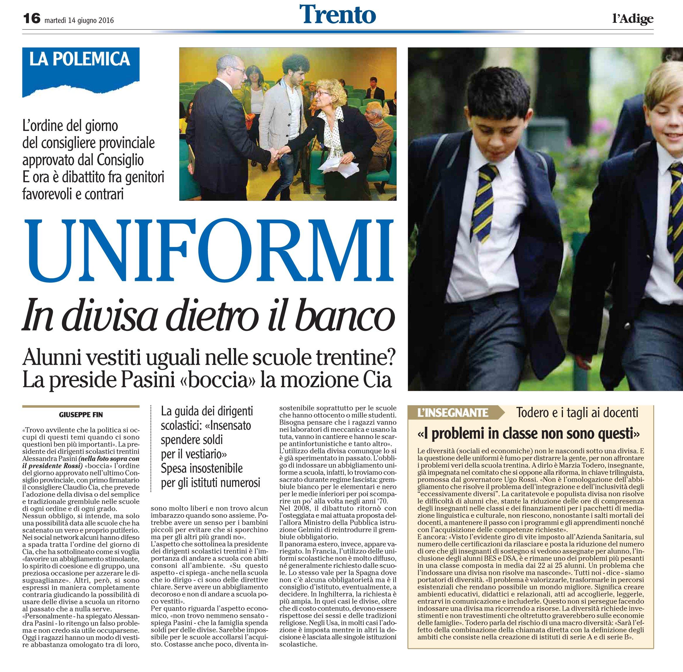 """5ae052da16fc Claudio Cia risponde alla dirigente Pasini che aveva """"bocciato"""" le ..."""