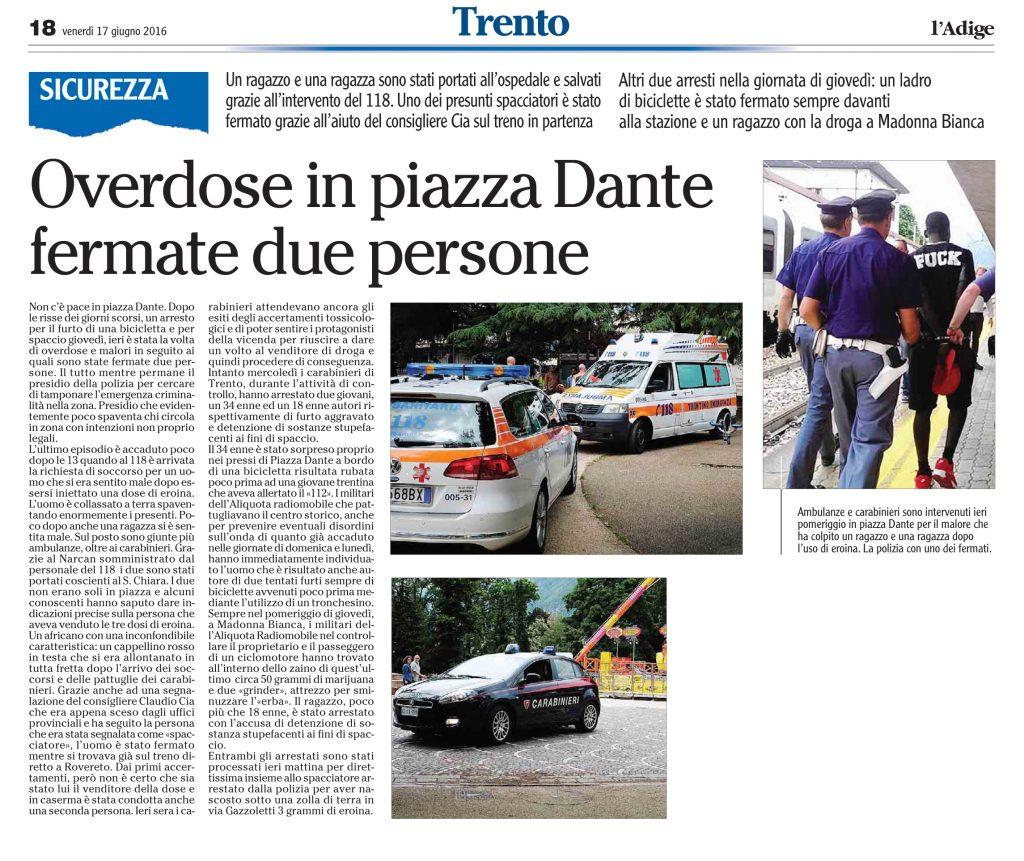 Overdose in piazza Dante, fermate due persone