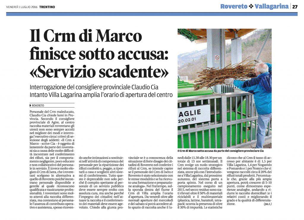 CRM di Marco sotto accusa