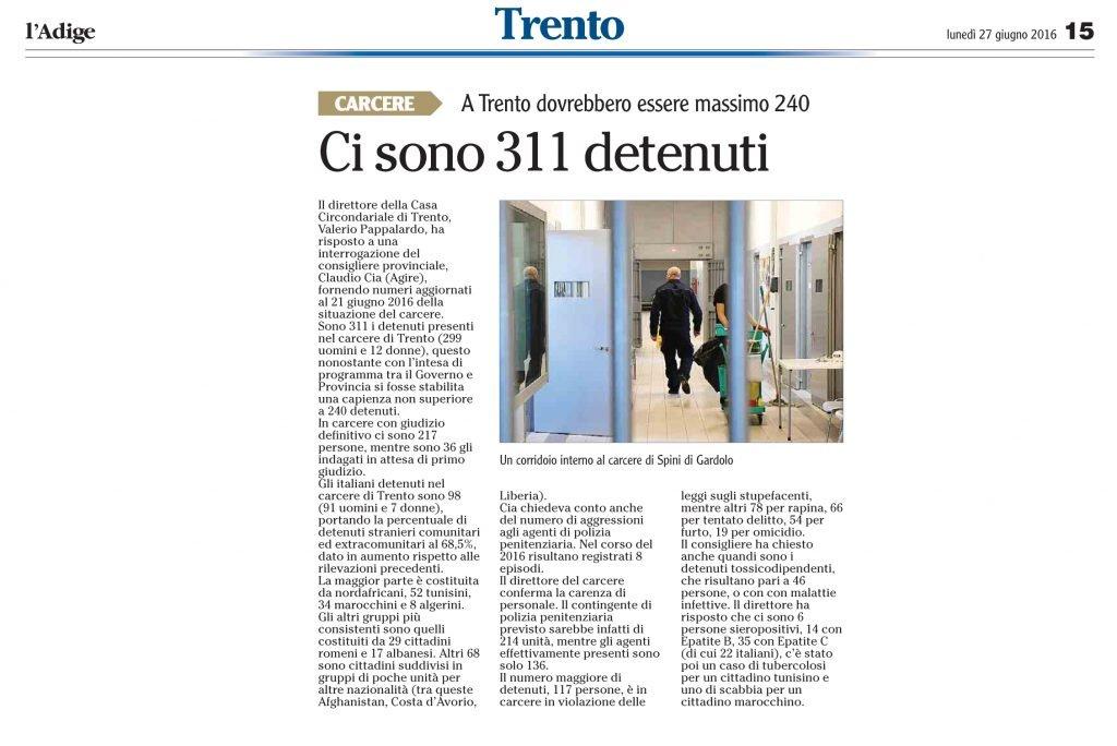 Ci sono 311 detenuti