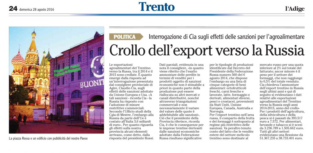Crollo dell'export verso la Russia