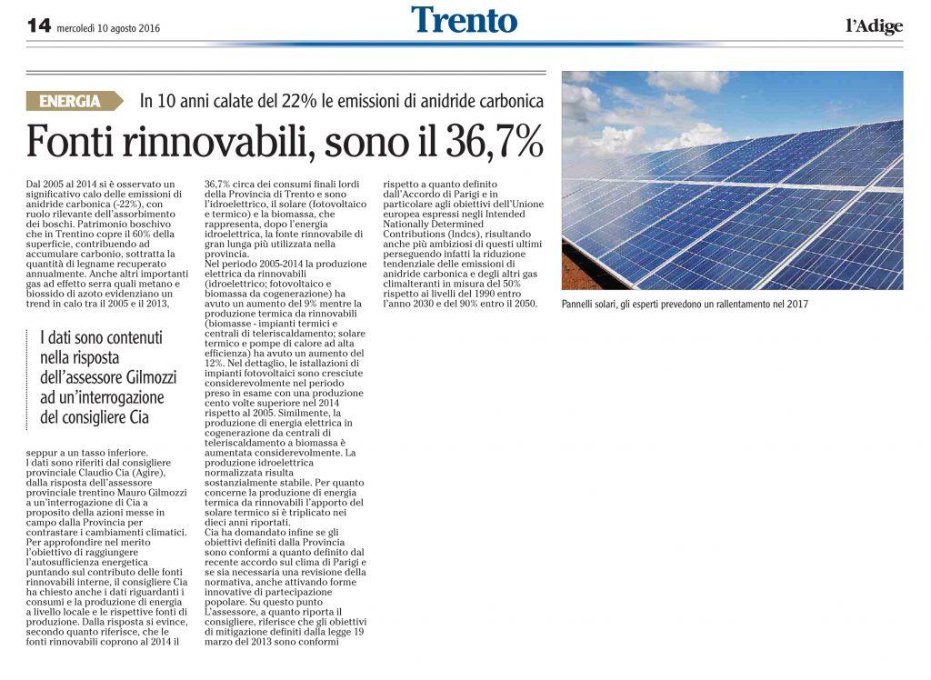 Fonti rinnovabili, sono il 36,7%
