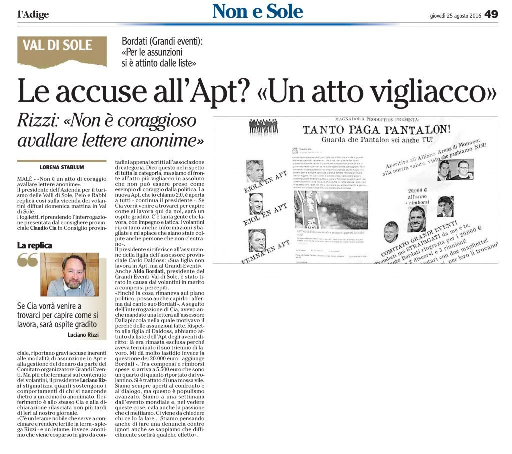 Le accuse all'Apt, un atto vigliacco