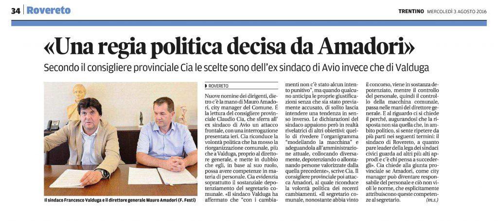 Rovereto, regia politica