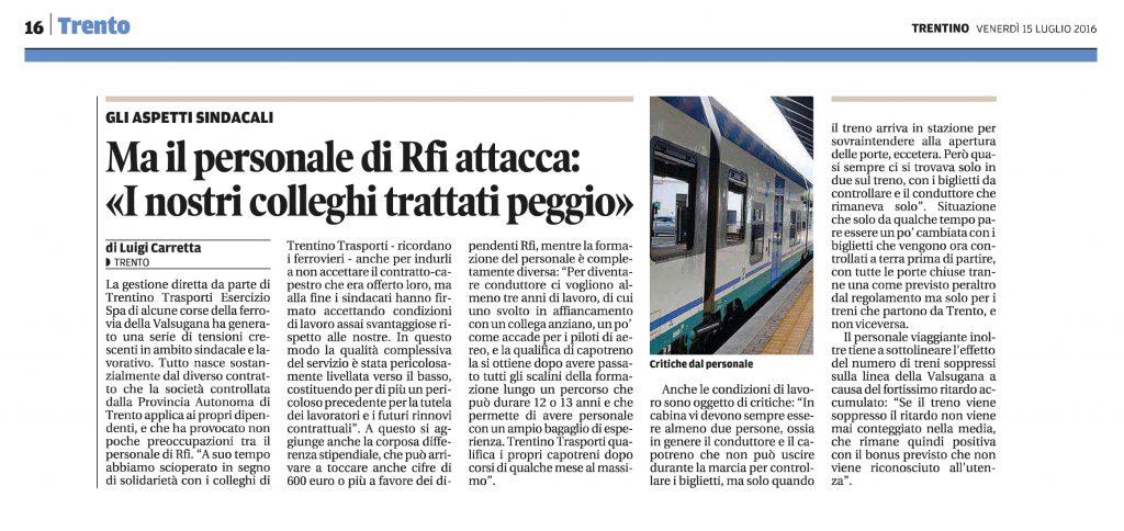 Personale Rfi e Trentino Trasporti
