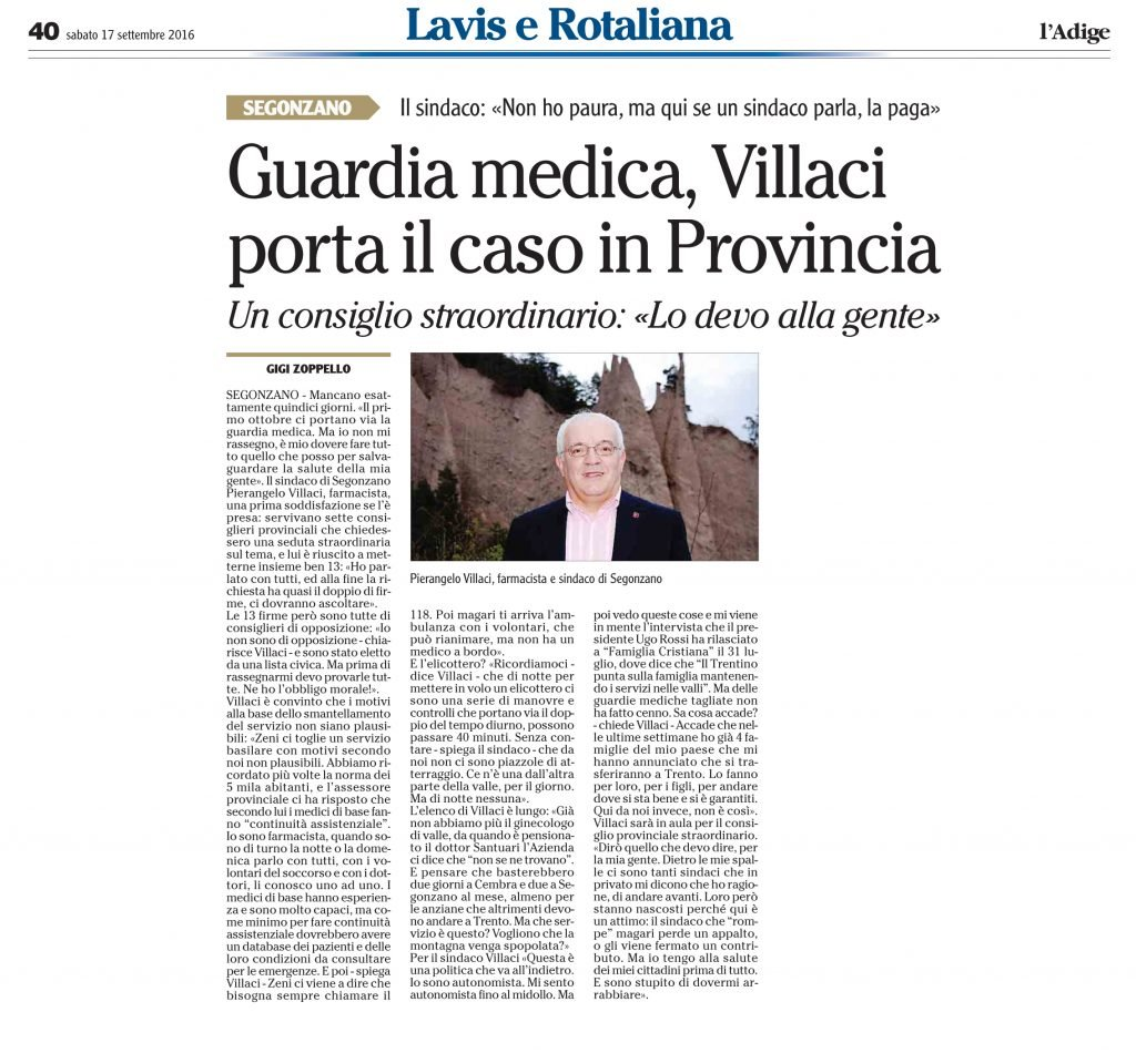 Guardia medica, Villaci porta il caso in Provincia