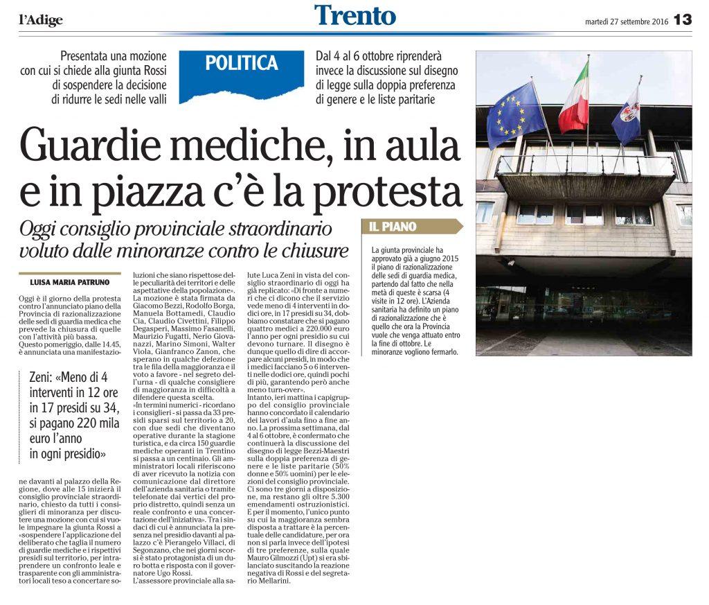 Guardie mediche, in aula e in piazza la protesta