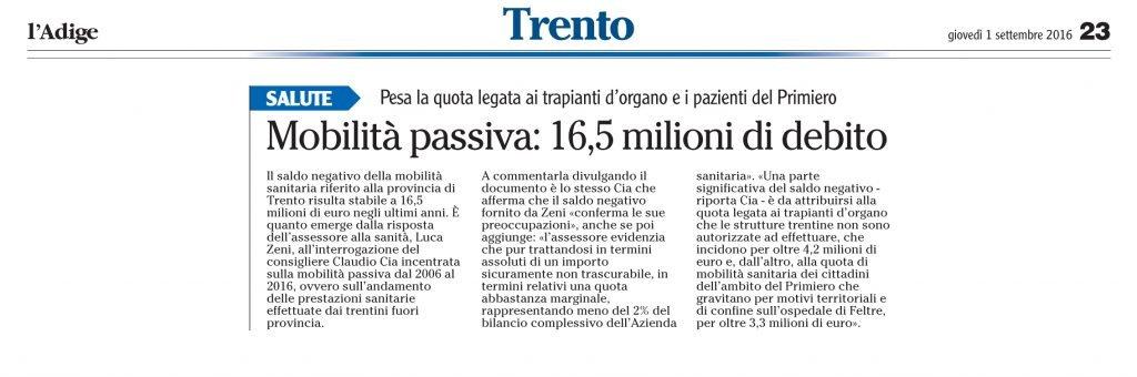 Mobilità passiva 16,5 milioni di debito