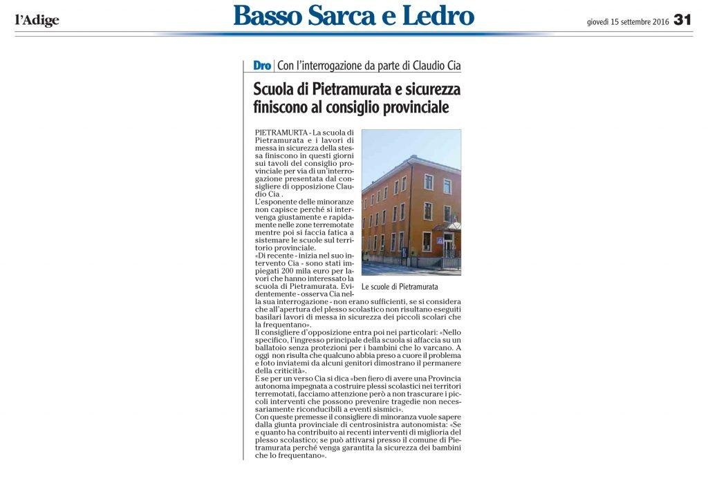 Scuola di Pietramurata e sicurezza