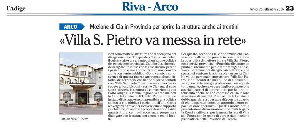 Villa San Pietro va messa in rete