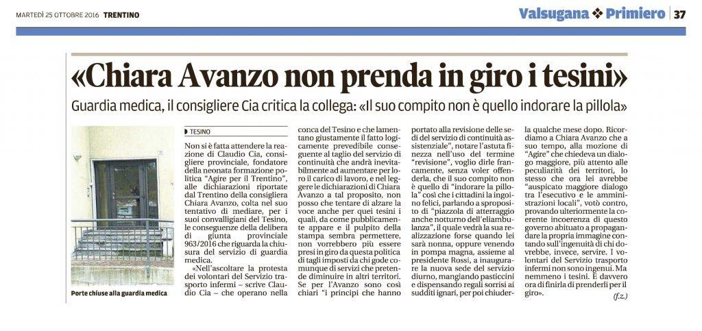 Chiara Avanzo non prenda in giro i tesini